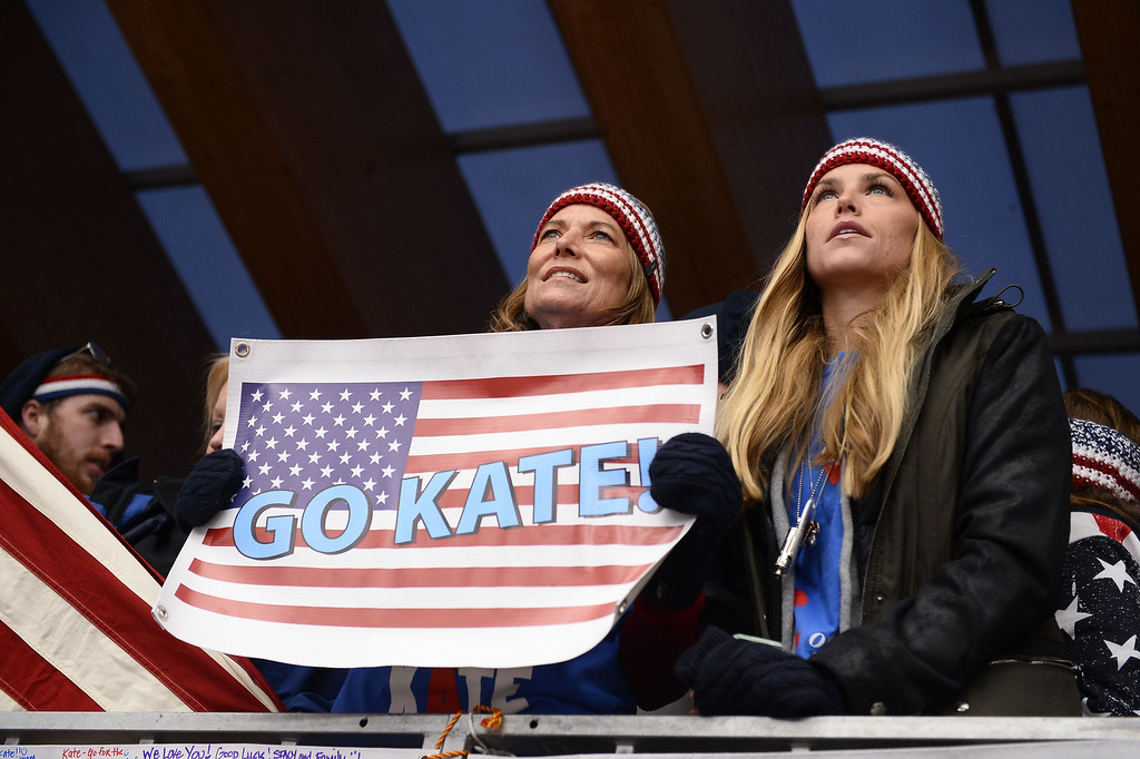 . US Kate Hansen\'s supporters attend the run 3 of the Women\'s Luge Singles event of the Sochi Winter Olympics on February 11, 2014 at the Sanki Sliding Center.  LIONEL BONAVENTURE/AFP/Getty Images