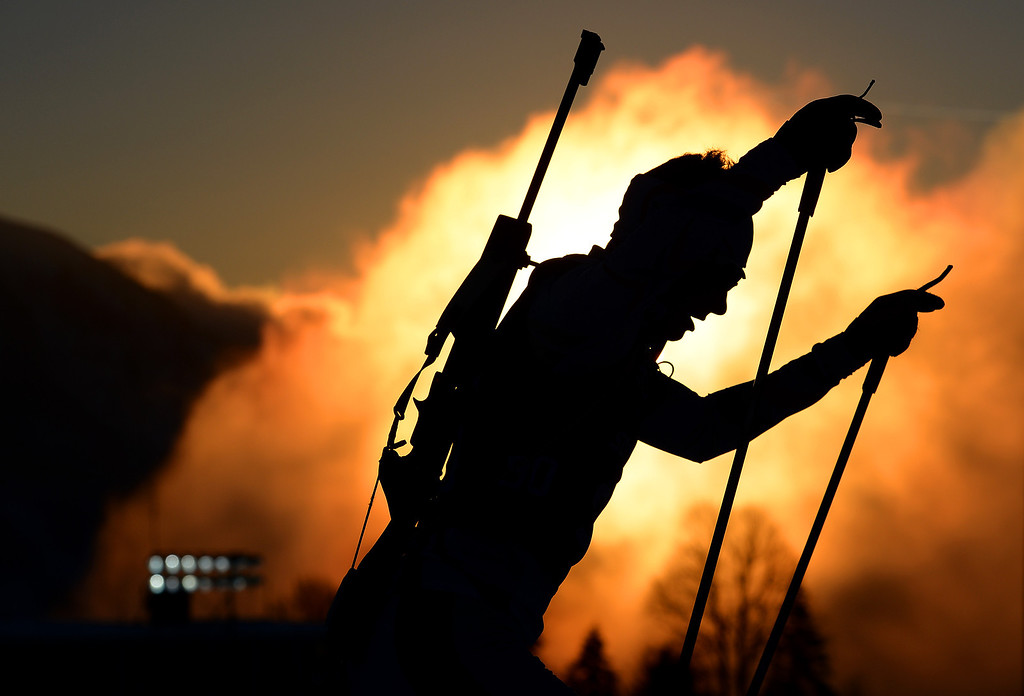 . A biathlete trains ahead of the Sochi 2014 Winter Olympics at the Laura Cross-Country Ski and Biathlon Center on February 5, 2014 in Sochi, Russia.  (Photo by Lars Baron/Getty Images)