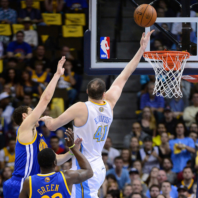 . Denver Nuggets center Kosta Koufos (41) puts up a shot in the second quarter against the Golden State Warriors in Game 5 of the Western Conference First Round Series at the Pepsi Center in Denver, Colo. on April 30, 2013. (Photo by AAron Ontiveroz/The Denver Post)