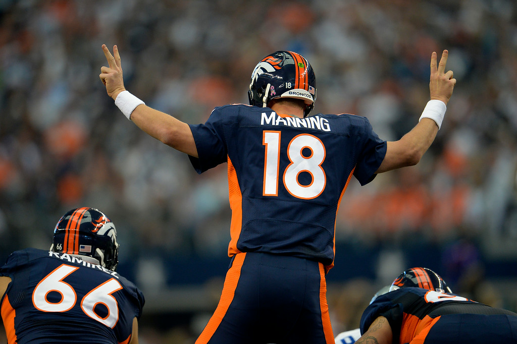 . Peyton Manning calls out a play against the Cowboys. (Joe Amon/The Denver Post)