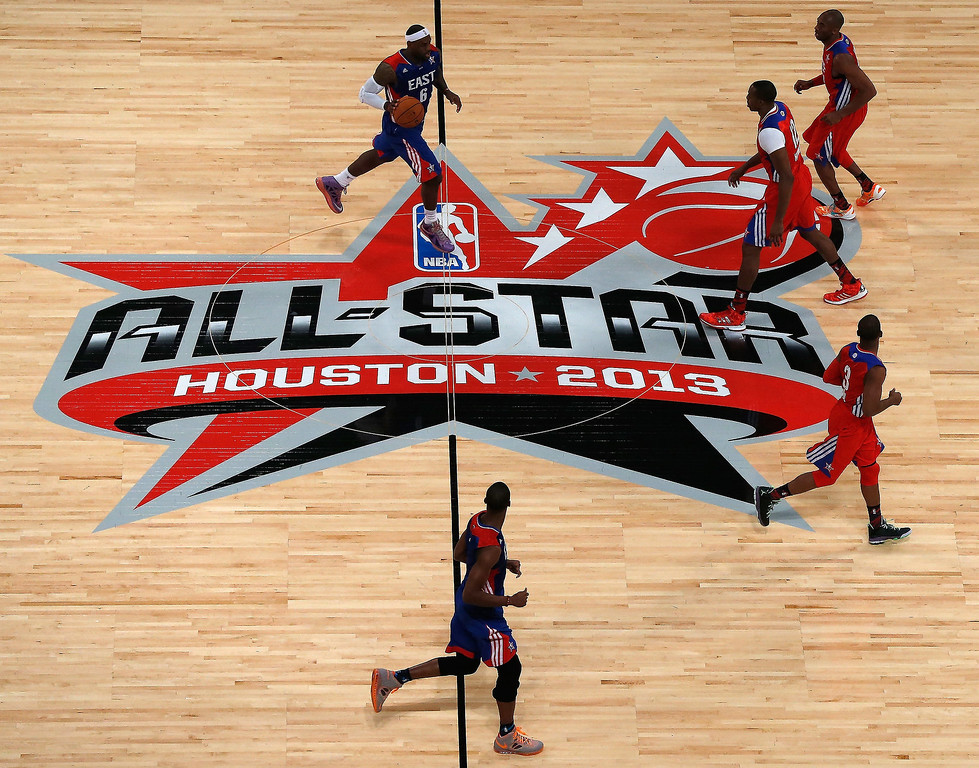 . HOUSTON, TX - FEBRUARY 17:  LeBron James #6 of the Miami Heat and the Eastern Conference brings the ball up the floor in the first quarter during the 2013 NBA All-Star game at the Toyota Center on February 17, 2013 in Houston, Texas. (Photo by Scott Halleran/Getty Images)