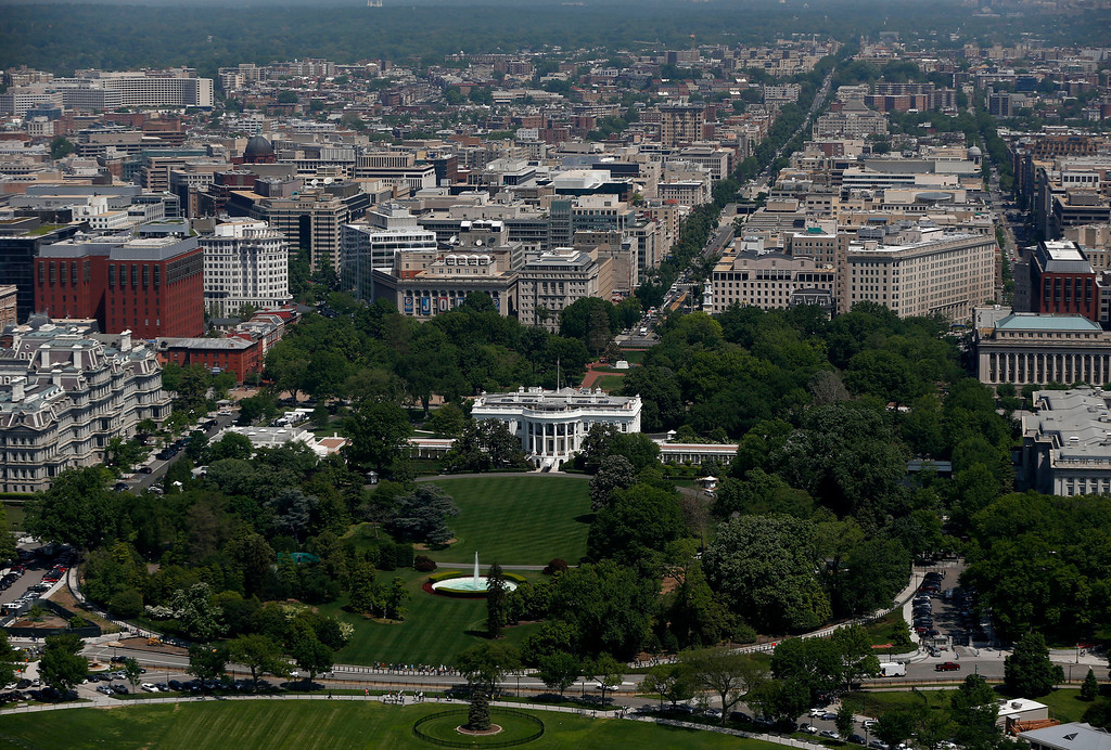 . The South Lawn and the White House are seen from the 500-foot level of the Washington Monument in Washington, Monday, May 12, 2014, as it re-opens.  (AP Photo)