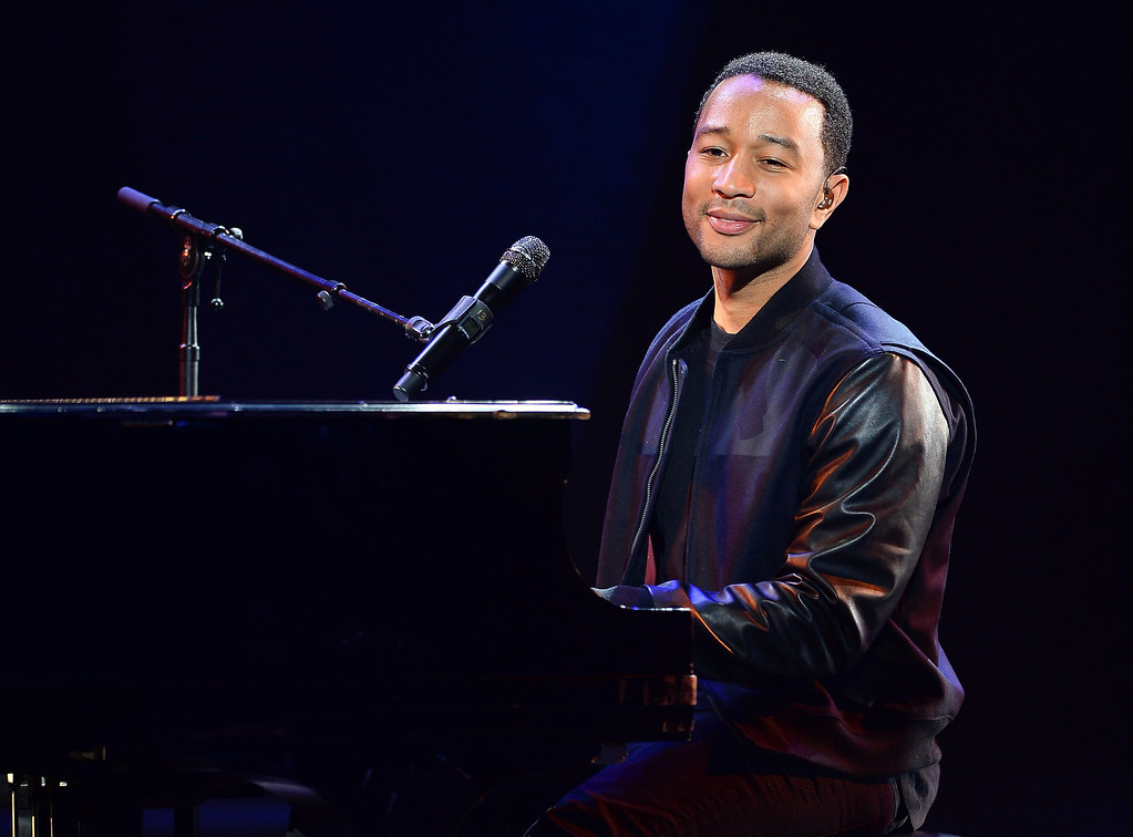 . Recording artist John Legend performs during a keynote address by Yahoo! President and CEO Marissa Mayer at the 2014 International CES at The Las Vegas Hotel & Casino on January 7, 2014 in Las Vegas, Nevada. CES, the world\'s largest annual consumer technology trade show, runs through January 10 and is expected to feature 3,200 exhibitors showing off their latest products and services to about 150,000 attendees.  (Photo by Ethan Miller/Getty Images)