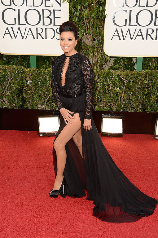 . Actress Eva Longoria arrives at the 70th Annual Golden Globe Awards held at The Beverly Hilton Hotel on January 13, 2013 in Beverly Hills, California.  (Photo by Jason Merritt/Getty Images)
