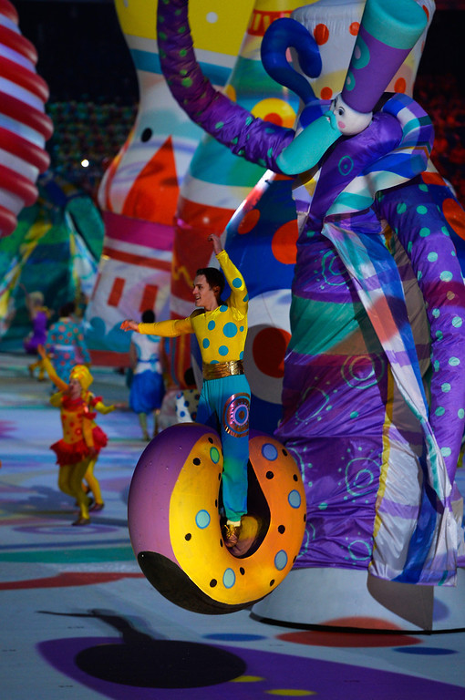 . Dancers perform during the Opening Ceremony of the Sochi 2014 Winter Olympics at Fisht Olympic Stadium on February 7, 2014 in Sochi, Russia.  (Photo by Pascal Le Segretain/Getty Images)
