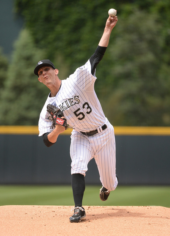 . DENVER, CO - JUNE 20: Colorado starting pitcher Christian Friedrich delivered to the plate in the first inning. The Colorado Rockies hosted the Milwaukee Brewers at Coors Field Saturday afternoon, June 21, 2014. Photo by Karl Gehring/The Denver Post
