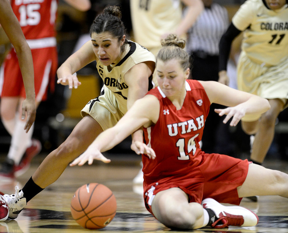 . Colorado\'s Jasmine Sborov (left) and Utah\'s Paige Crozon (right) dive for a loose ball during their basketball game at the University of Colorado in Boulder , Colorado January 8, 2013. BOULDER DAILY CAMERA/ Mark Leffingwell
