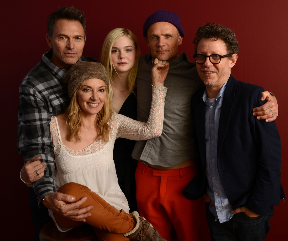 . (L-R) Actor Timothy Daly, filmmaker Amy-Jo Albany, actors Elle Fanning and Flea, and filmmaker Jeff Preiss pose for a portrait during the 2014 Sundance Film Festival at the WireImage Portrait Studio at the Village At The Lift on January 20, 2014 in Park City, Utah.  (Photo by Larry Busacca/Getty Images)