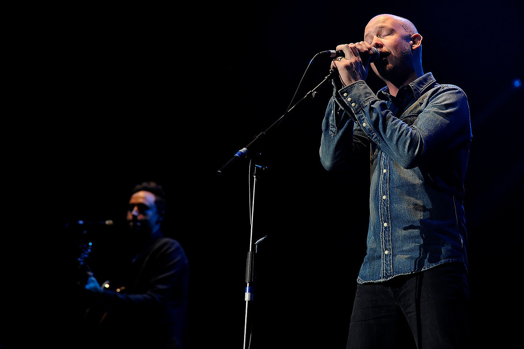 . Isaac Slade of The Fray performs during the Colorado Rising flood relief benefit concert at the 1st Bank Center on October 27, 2013 in Broomfield, Colorado.  (Photo by Seth McConnell/The Denver Post)