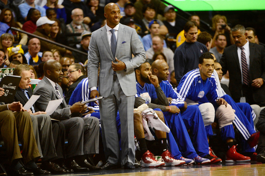 . Los Angeles Clippers point guard Chauncey Billups smiles from the bench during the first half at the Pepsi Center on Tuesday, January 1, 2013. AAron Ontiveroz, The Denver Post
