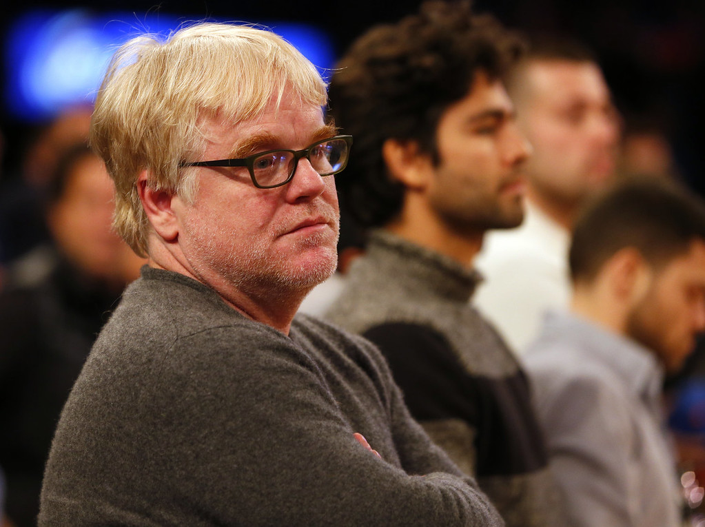 . According to reports February 2, 2014, Philip Seymour Hoffman, 46, was found dead in his New York Cit apartment.  American film actor Philip Seymour Hoffman looks on as the Oklahoma City Thunder play the New York Knicks during an NBA basketball game at Madison Square Garden on December 25, 2013 in New York City. The Thunder defeated the Knicks 123-94.  (Photo by Rich Schultz /Getty Images)