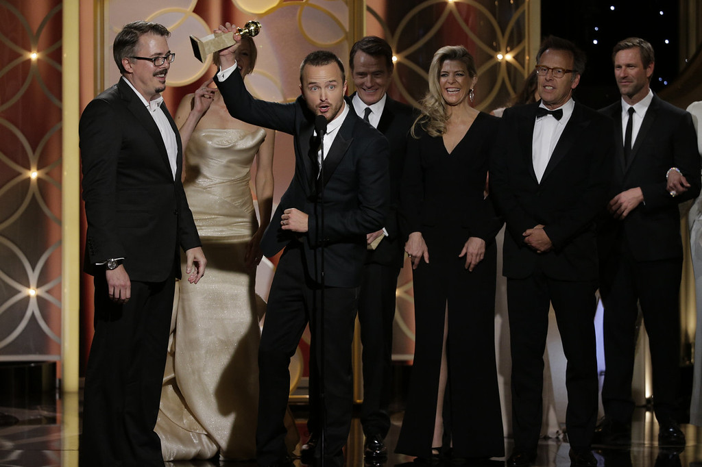 ". In this handout photo provided by NBCUniversal, Vince Gilligan, Anna Gunn, Aaron Paul,  Michelle MacLaren and Mark Johnson  accept the award for Best TV Series, Drama for ""Breaking Bad\"" during the 71st Annual Golden Globe Award at The Beverly Hilton Hotel on January 12, 2014 in Beverly Hills, California.  (Photo by Paul Drinkwater/NBCUniversal via Getty Images)"