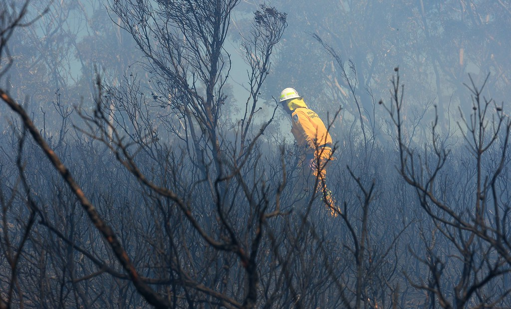 . A volunteer firefighter struggles through the strong winds as he surveys the damage in the Mt York fire area near Mount Victoria in the Blue Mountains on October 23, 2013.      AFP PHOTO/William WEST/AFP/Getty Images