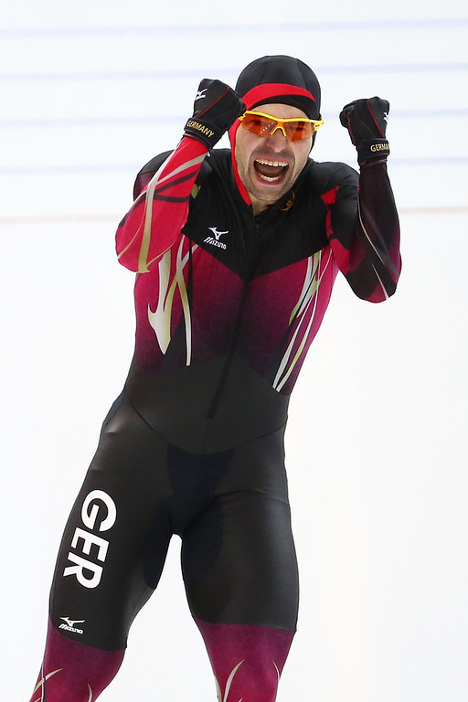 . Samuel Schwarz of Germany celebrates after competing during the Men\'s 1000m Speed Skating event during day 5 of the Sochi 2014 Winter Olympics at at Adler Arena Skating Center on February 12, 2014 in Sochi, Russia.  (Photo by Streeter Lecka/Getty Images)