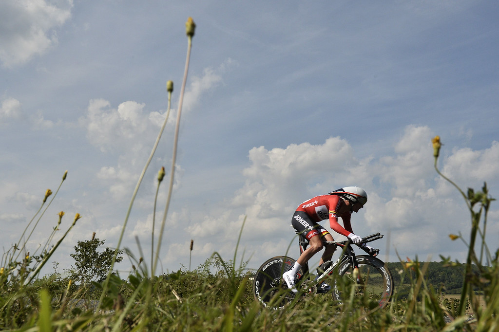 . Belgium\'s Jurgen Van Den Broeck rides during the twentieth stage, a 54 km individual time trial, as part of the 101st edition of the Tour de France cycling race on July 26, 2014 between Bergerac and Perigueux, western France.  AFP PHOTO / JEFF  PACHOUD/AFP/Getty Images