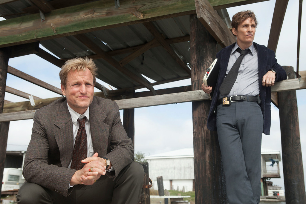 ". This image released by HBO shows Woody Harrelson, left, and Matthew McConaughey from the HBO series ""True Detective.\"" Both Harrelson and McConaughey were nominated for Emmy Awards for best actor in a drama series on Thursday, July 10, 2014, for their roles in the series. The 66th Primetime Emmy Awards will be presented Aug. 25 at the Nokia Theatre in Los Angeles. (AP Photo/HBO, Jim Bridges)"