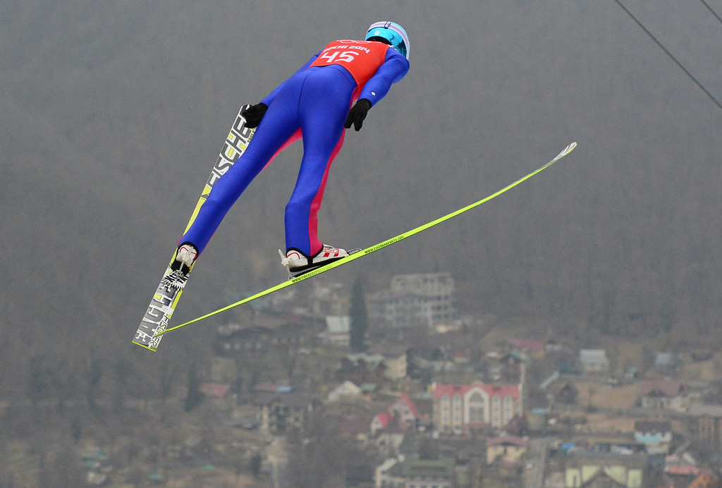 . Norway\'s Joergen Graabak competes in the fog in the Nordic Combined Individual NH / 10 km Ski Jumping official training at the RusSki Gorki Jumping Center during the Sochi Winter Olympics on February 17, 2014, in Rosa Khutor, near Sochi. AFP PHOTO / JOHN  MACDOUGALL/AFP/Getty Images