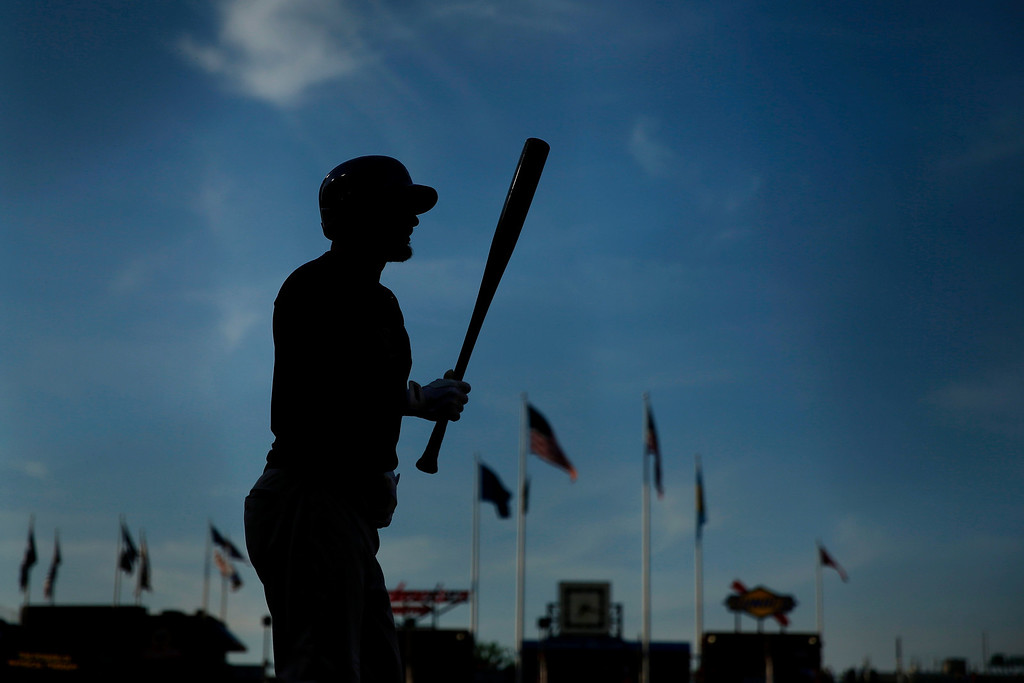 . Colorado Rockies pinch hitter Brandon Barnes walks to the batter\'s box during the seventh inning of a baseball game against the Philadelphia Phillies, Monday, May 26, 2014, in Philadelphia. Philadelphia won 9-0. (AP Photo/Matt Slocum)