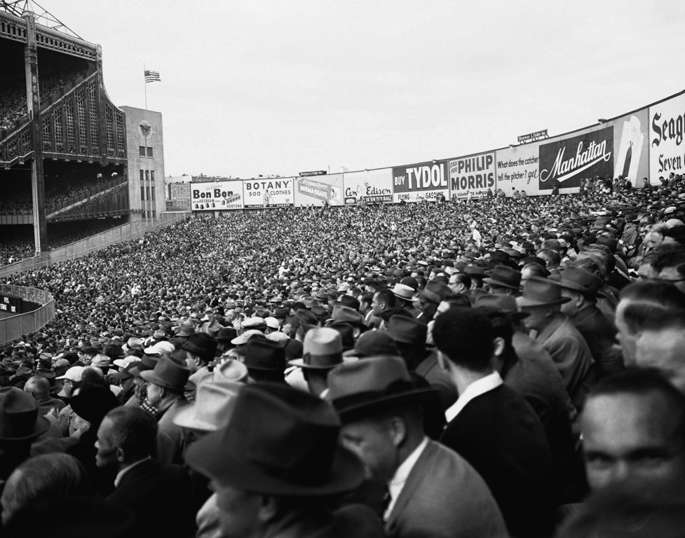 . Fans take in Game 3 of the World Series between the Yankees and the Brooklyn Dodgers from the Yankee Stadium bleachers, October 3, 1952. Announced attendance was 66,698. ?Dem Bums from Brooklyn won the game 5-3, but the Yanks came back to win the series in seven games. This was the fourth World Series meeting between the two clubs, with the Dodgers still trying to break through. (AP Photo)