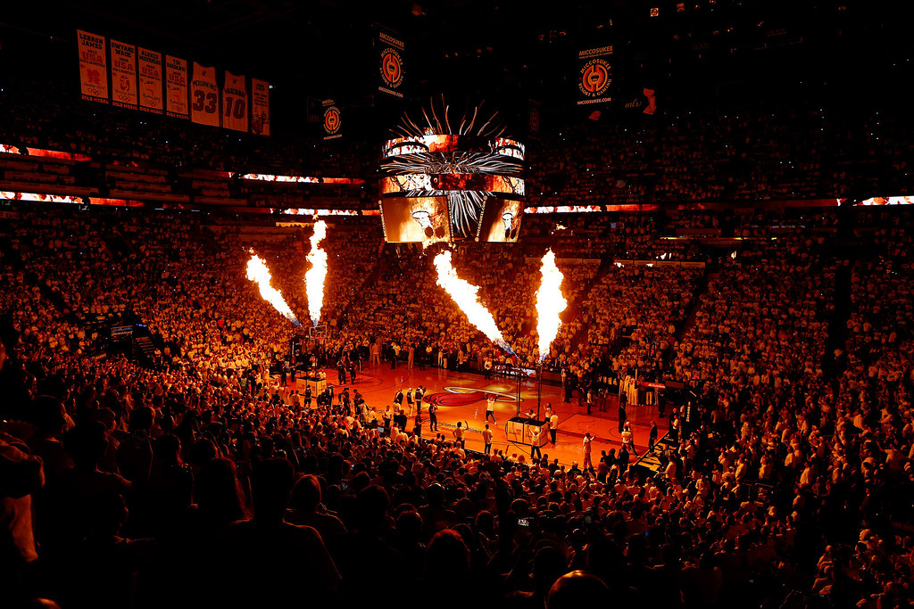 . MIAMI, FL - JUNE 12:  The Miami Heat are introduced prior to Game Four of the 2014 NBA Finals against the San Antonio Spurs at American Airlines Arena on June 12, 2014 in Miami, Florida. (Photo by Chris Trotman/Getty Images)