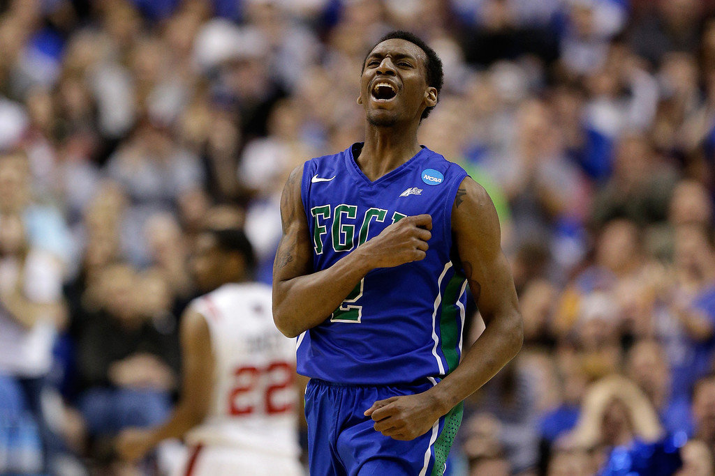 . PHILADELPHIA, PA - MARCH 24:  Bernard Thompson #2 of the Florida Gulf Coast Eagles reacts in the second half while taking on the San Diego State Aztecs during the third round of the 2013 NCAA Men\'s Basketball Tournament at Wells Fargo Center on March 24, 2013 in Philadelphia, Pennsylvania.  (Photo by Rob Carr/Getty Images)