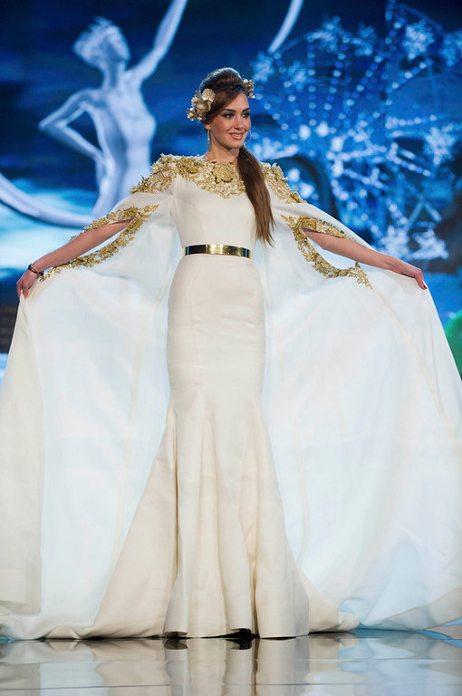 . Miss Lebanon Rina Chibany performs onstage at the 2012 Miss Universe National Costume Show at PH Live in Las Vegas, Nevada December 14, 2012. The 89 Miss Universe contestants will compete for the Diamond Nexus Crown on December 19, 2012. REUTERS/Darren Decker/Miss Universe Organization L.P./Handout