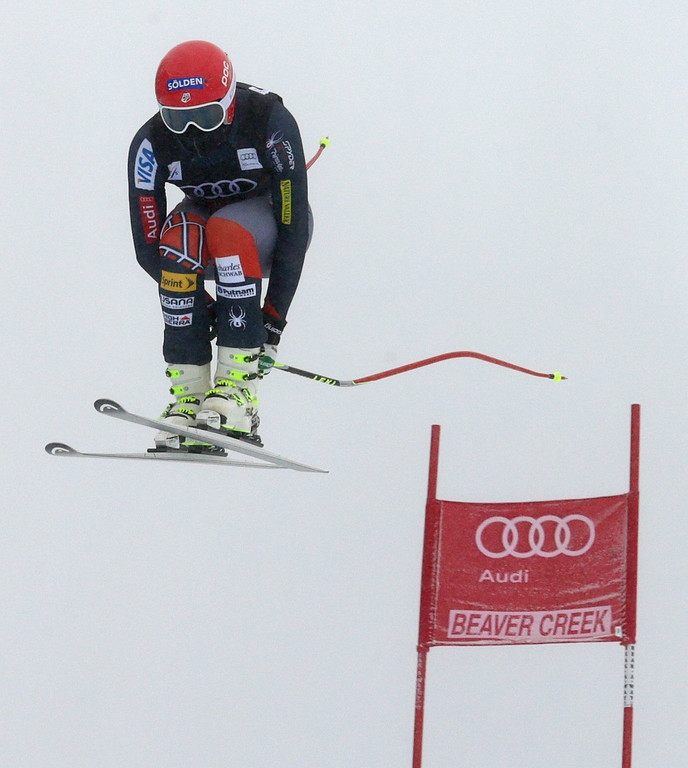 . Bode Miller flies off the last jump during the men\'s World Cup downhill skiing event, Friday, Dec. 6, 2013, in Beaver Creek, Colo. (AP Photo/Charles Krupa)
