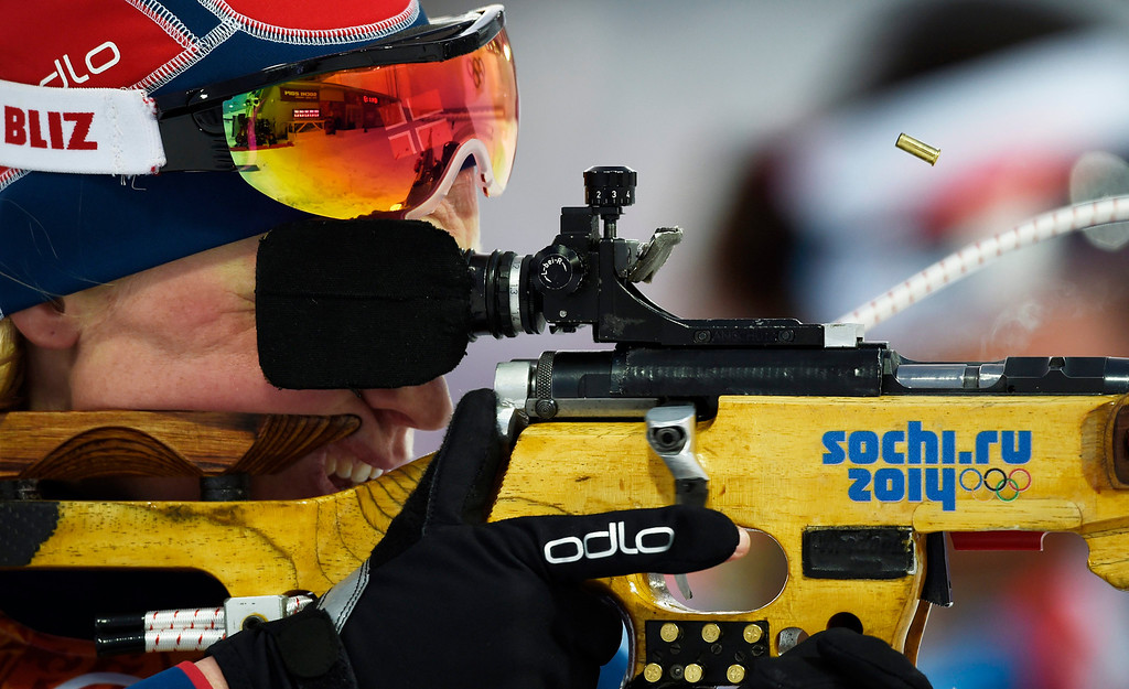 . Tora Berger of Norway in action during the Mixed Relay competition at the Laura Cross Biathlon Center during the Sochi 2014 Olympic Games, Krasnaya Polyana, Russia, 19 February 2014.  EPA/VALDRIN XHEMAJ