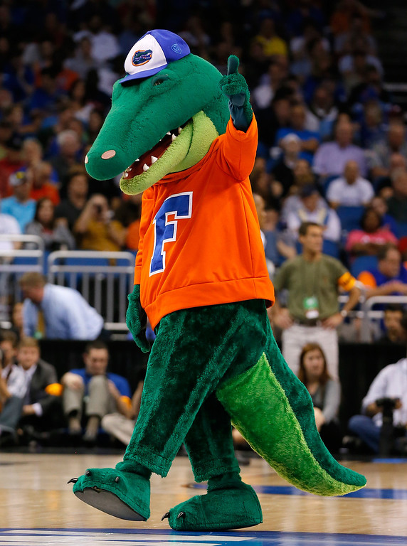 . ORLANDO, FL - MARCH 20:  The Florida Gators mascots is seen on the court in the second half while taking on the Albany Great Danes during the second round of the 2014 NCAA Men\'s Basketball Tournament at Amway Center on March 20, 2014 in Orlando, Florida.  (Photo by Kevin C. Cox/Getty Images)