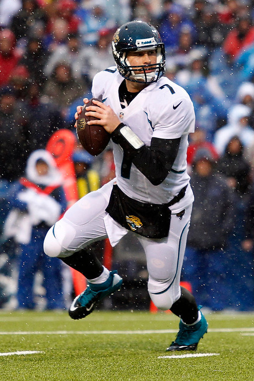 . Jacksonville Jaguars quarterback Chad Henne (7) looks to pass during the first half of an NFL football game, Sunday, Dec. 2, 2012, in Orchard Park, N.Y. Henne ran for a touchdown on the play. (AP Photo/Bill Wippert)