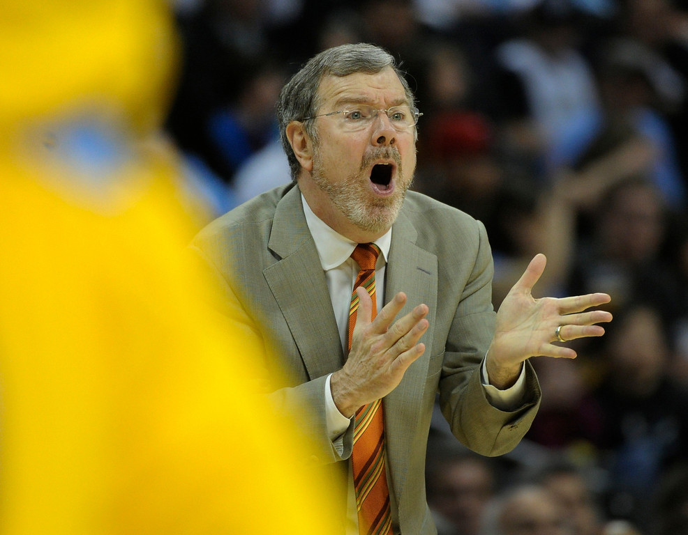 . DENVER, CO. - MARCH 29: Brooklyn Nets coach P.J. Carlesimo came off the bench to appeal a call. The Denver Nuggets defeated the Brooklyn Nets 109-87 Friday night, March 29, 2013 at the Pepsi Center in Denver.  (Photo By Karl Gehring/The Denver Post)