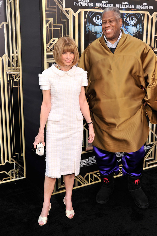 ". Editor-in-chief of American Vogue Anna Wintour and André Leon Talley attend the ""The Great Gatsby\"" world premiere at Avery Fisher Hall at Lincoln Center for the Performing Arts on May 1, 2013 in New York City.  (Photo by Stephen Lovekin/Getty Images)"