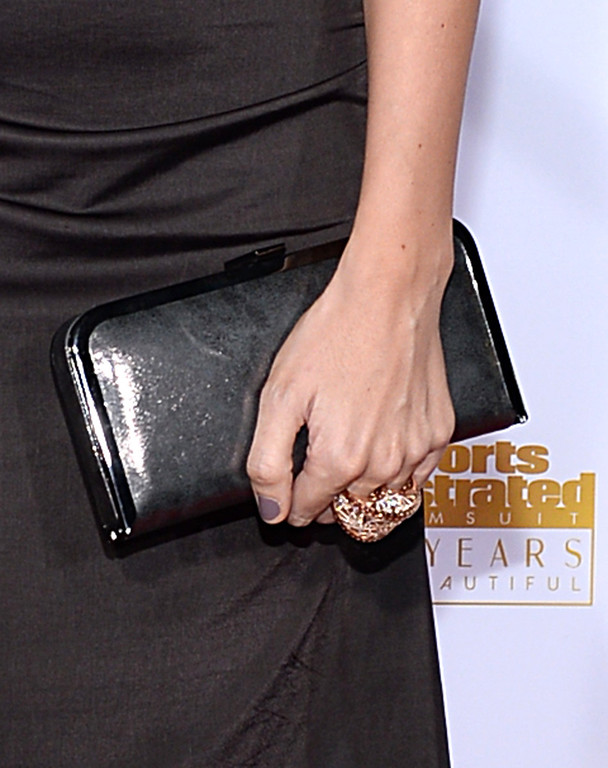 . Model Natasha Barnard (clutch detail) attends NBC and Time Inc. celebrate the 50th anniversary of the Sports Illustrated Swimsuit Issue at Dolby Theatre on January 14, 2014 in Hollywood, California.  (Photo by Dimitrios Kambouris/Getty Images)