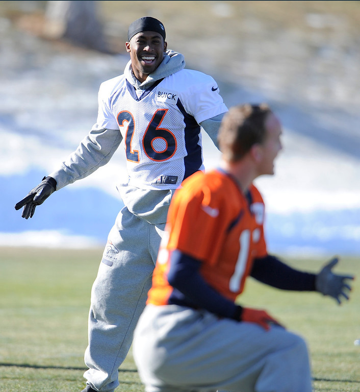 . Denver Broncos free safety Rahim Moore (26) laughs as he stretches during practice Thursday, December 20, 2012 at Dove Valley.  John Leyba, The Denver Post