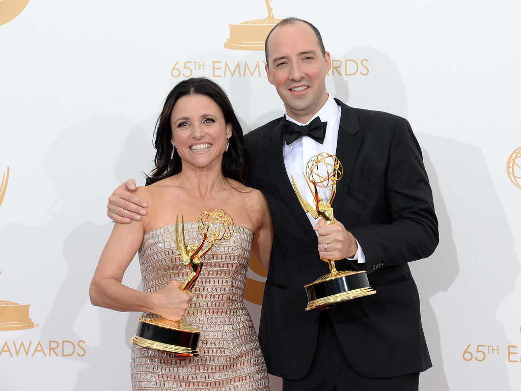 """. Actress Julia Louis-Dreyfus, winner of the Best Lead Actress In A Comedy Seriers Award for \""""Veep\"""" and actor Tony Hale, winner of the Best Supporting Actor in a Comedy Series Award for \""""Veep\"""" pose in the press room during the 65th Annual Primetime Emmy Awards held at Nokia Theatre L.A. Live on September 22, 2013 in Los Angeles, California.  (Photo by Jason Merritt/Getty Images)"""