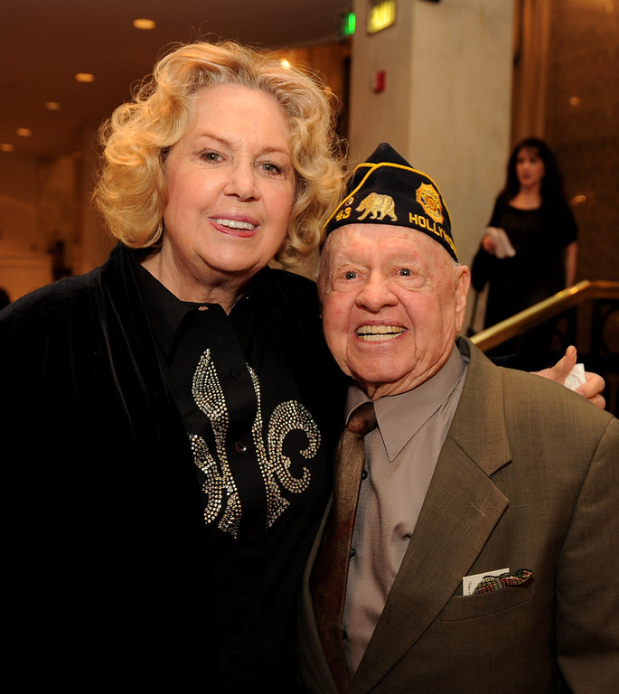 """. Actor Mickey Rooney (R) and his wife Jan arrive at AARP Magazine\'s \""""10th Annual Movies For Grownups\"""" Awards Gala at the Beverly Wilshire Hotel on February 7, 2011 in Beverly Hills, California.  (Photo by Kevin Winter/Getty Images)"""