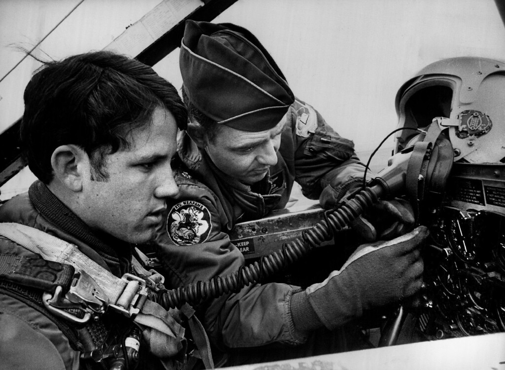 . AFA Cadet 3.C. Donald D. Gresham Receives Flight Training at Peterson Field. Lt. Col. Richard L. Kuiber instructs Gresham during T33 jet training introduction course. 1973. The Denver Post Library Archive