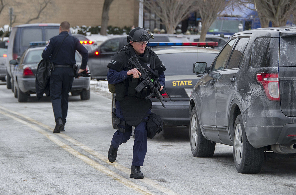 . Maryland State Police patrol the Columbia Mall after a fatal shooting on January 25, 2014, in Columbia, Maryland.    AFP PHOTO / Jim WATSON/AFP/Getty Images