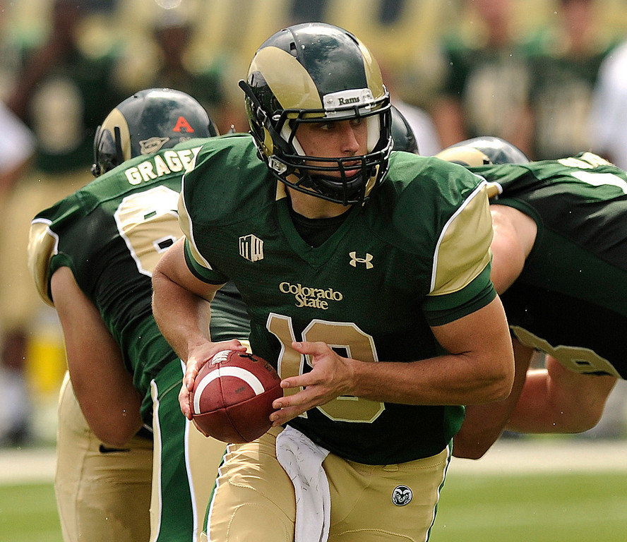 . FORT COLLINS, CO. - SEPTEMBER 14: Rams quarterback Garrett Grayson (18) got the start Saturday. The Colorado State University football team hosted Cal Poly at Hughes Stadium in Fort Collins Saturday afternoon, September 14, 2013.  Photo By Karl Gehring/The Denver Post