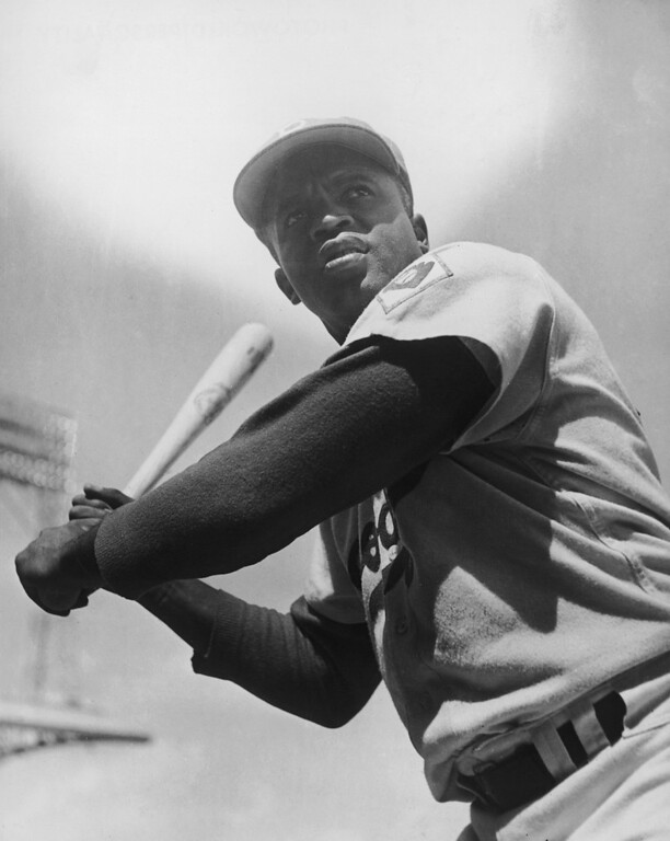 . Jackie Robinson, the first African American to play in Americas Major League Baseball (MLB) in the modern era for the Brooklyn Dodgers, making his first appearance on April 15, 1947. Robinson died in 1972, aged 53.   American baseball player Jackie Robinson (1919 - 1972) of the Brooklyn Dodgers, circa 1950. (Photo by Curt Gunther/Keystone/Getty Images)