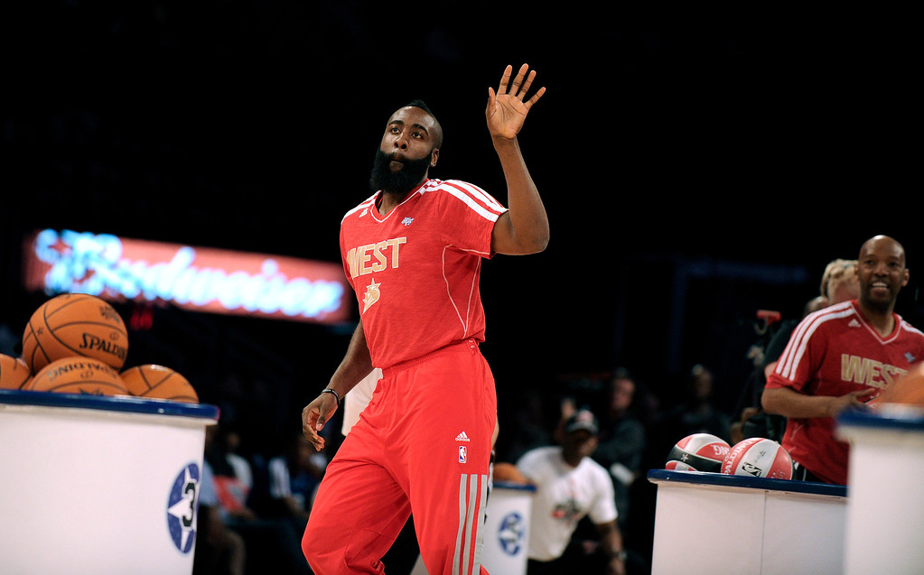 . Houston Rockets\' James Harden participates at the skills challenge during NBA All-Star Saturday Night basketball in Houston on Saturday, Feb. 16, 2013. (AP Photo/Pat Sullivan)