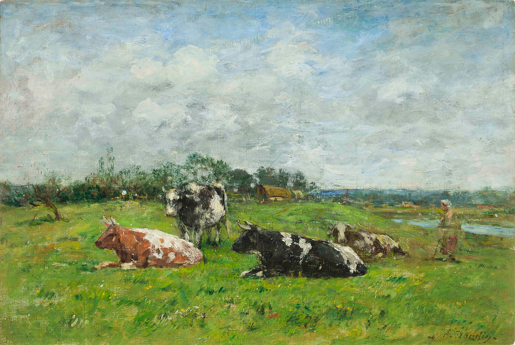 ". Eugene Boudin, ""Grazing in Normandy,\"" 1880s, oil on canvas on panel, 12.5x17.75\""  (Image provided by the Denver Art Museum)"