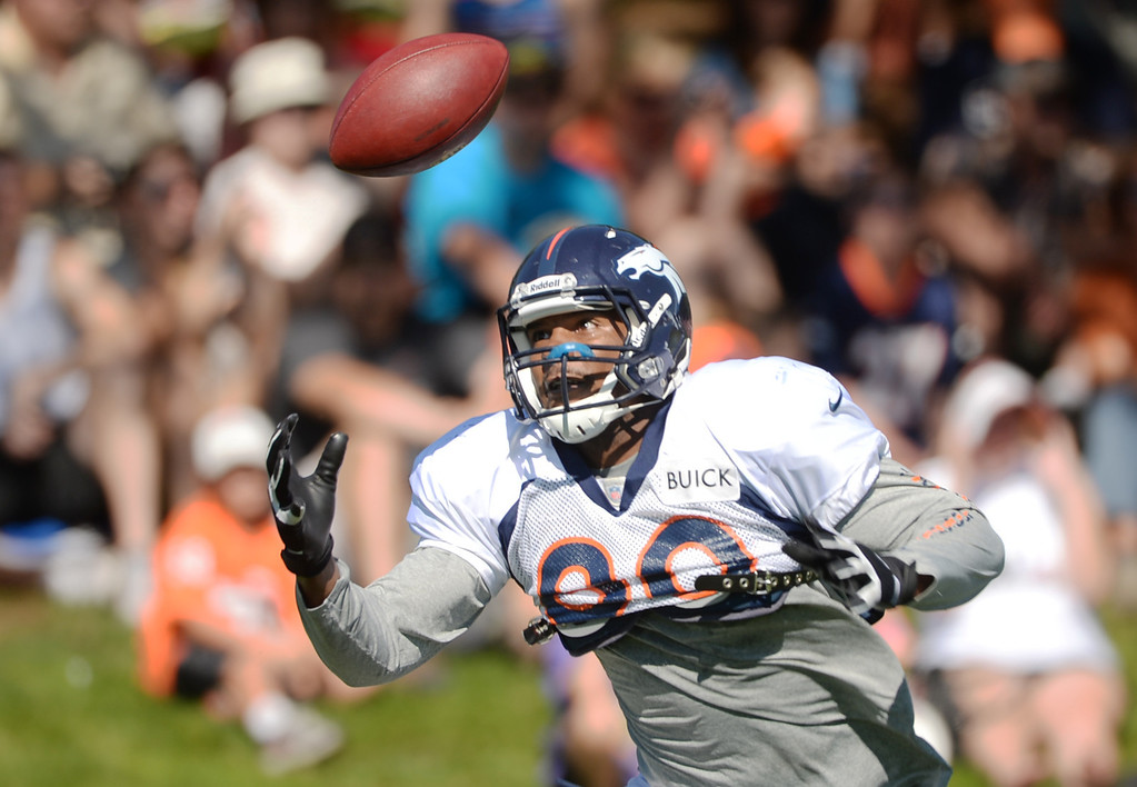 . CENTENNIAL, CO. - August 10: Julius Thomas of Denver Broncos (80) controls the catch during the training camp at Dove Valley. Centennial, Colorado. August 10, 2013. (Photo By Hyoung Chang/The Denver Post)