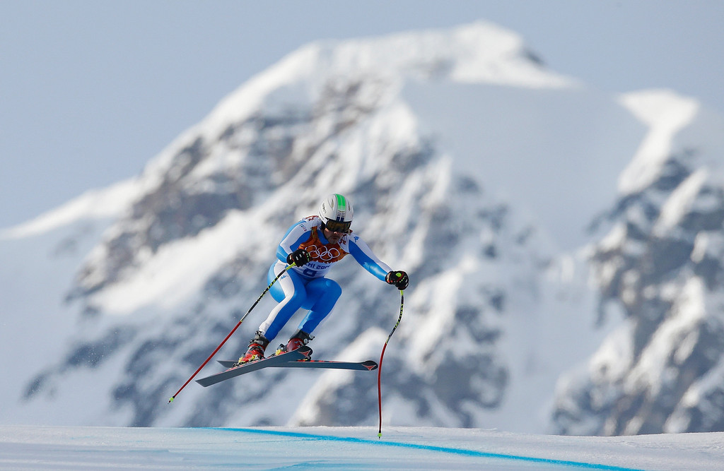 . Peter Fill of Italy skis during the Alpine Skiing Men\'s Super-G on day 9 of the Sochi 2014 Winter Olympics at Rosa Khutor Alpine Center on February 16, 2014 in Sochi, Russia.  (Photo by Ezra Shaw/Getty Images)