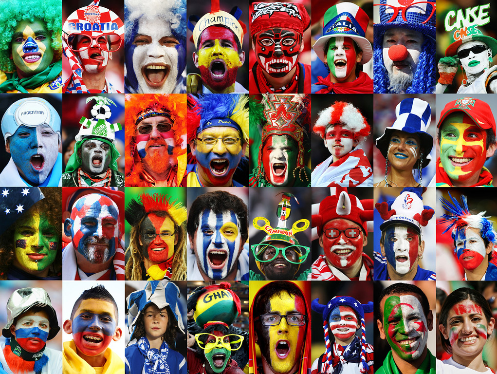 . his composite image shows a fan of each 32 national teams taking part in the 2014 World Cup starting on June 12, 2014 in Brazil. (Photo by Getty Images)