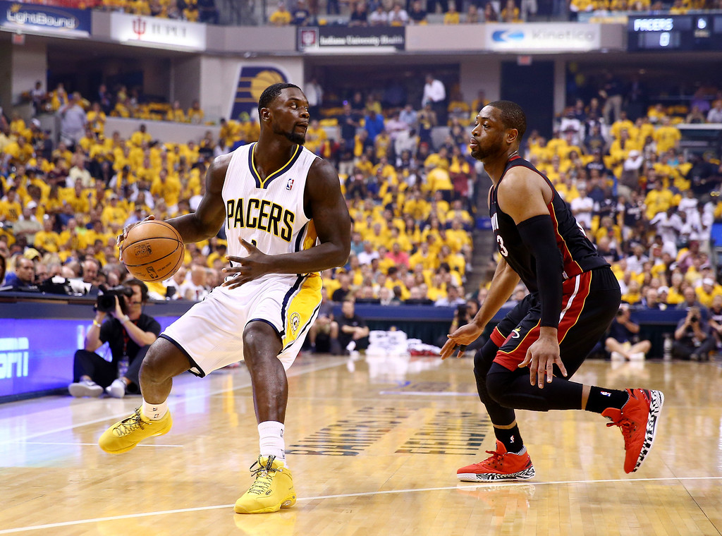 . INDIANAPOLIS, IN - MAY 28: Lance Stephenson #1 of the Indiana Pacers controls the ball as Dwyane Wade #3 of the Miami Heat defends during Game Five of the Eastern Conference Finals of the 2014 NBA Playoffs at Bankers Life Fieldhouse on May 28, 2014 in Indianapolis, Indiana.  (Photo by Andy Lyons/Getty Images)