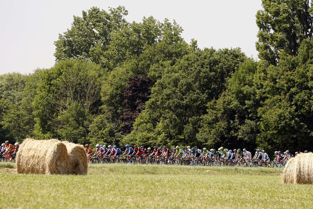 . The pack rides during the 218 km twelfth stage of the 100th edition of the Tour de France cycling race on July 11, 2013 between Fougères and Tours, northwestern France.  PASCAL GUYOT/AFP/Getty Images
