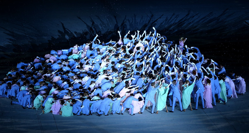 . Dancers perform Natasha Rostova\'s First Ball during the Opening Ceremony of the Sochi 2014 Winter Olympics at Fisht Olympic Stadium on February 7, 2014 in Sochi, Russia.  (Photo by Martin Rose/Getty Images)