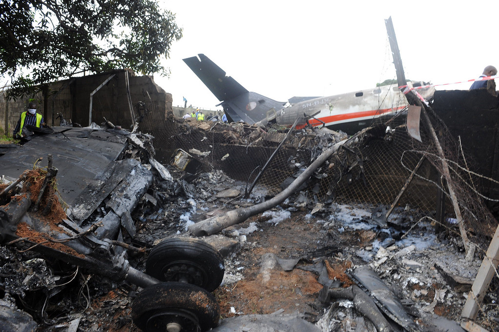. This picture taken on October 3, 2013 shows the wreckage of an Associated Airlines plane that crash-landed at Sahara Airport shortly after takeoff in Lagos.  AFP PHOTO/ PIUS UTOMI EKPEI /AFP/Getty Images