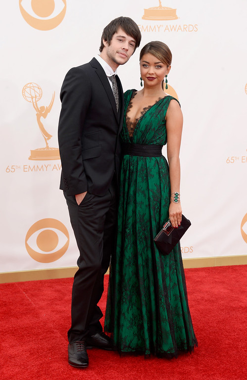 . (L-R) Actors Matt Prokop and Sarah Hyland arrive at the 65th Annual Primetime Emmy Awards held at Nokia Theatre L.A. Live on September 22, 2013 in Los Angeles, California.  (Photo by Frazer Harrison/Getty Images)